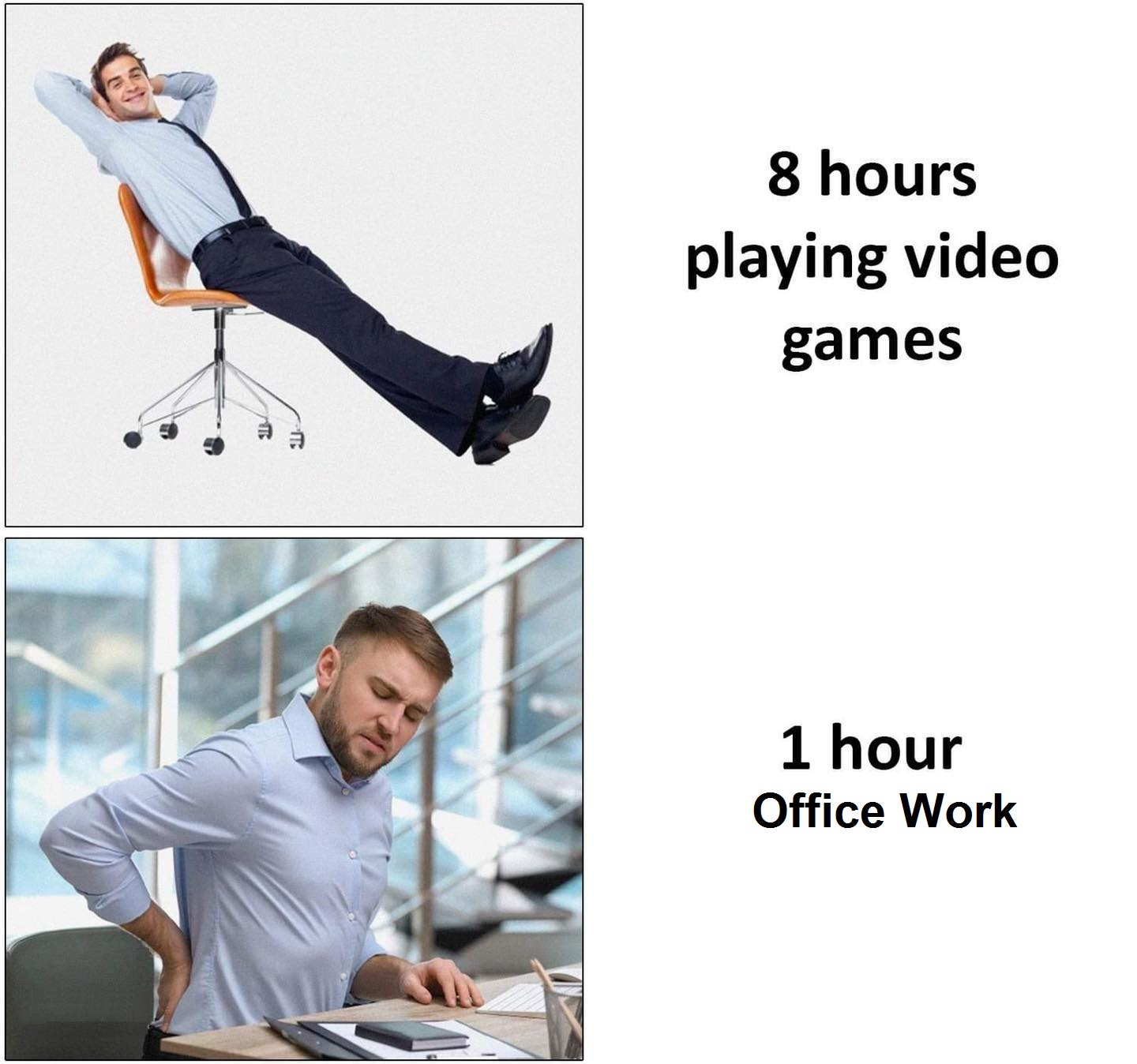 Programmer 8hours playing video games vs 1hour office work